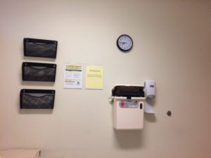 Another wall in exam room with clock permanently stopped at 7:45. Nice trick, but I have a watch.